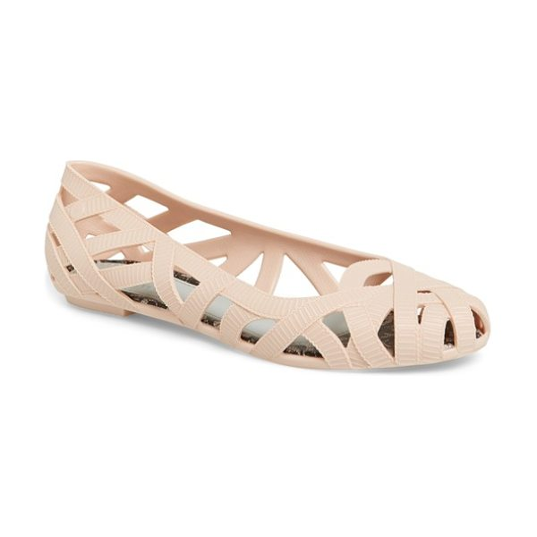 Melissa + jason wu jean jelly flat in light pink - Textured open weaves inspired by grosgrain ribbons bring...