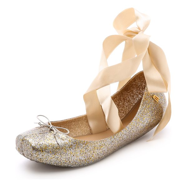 MELISSA Lace up ballet flats in gold/silver glitter - Pointe inspired PVC ballet flats are infused with...