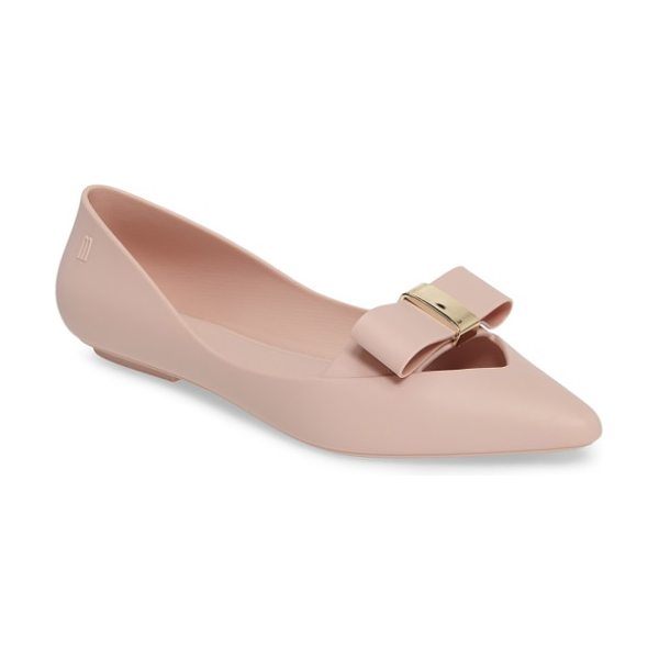 MELISSA maisie ii bow pointy toe flat - A flat bow cinched in a gleaming metallic knot frames...