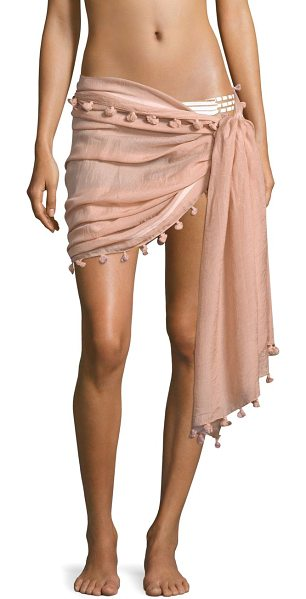 Melissa Odabash pom-pom pareo in dusty rose - Soft cotton-blend pareo with pom-pom...