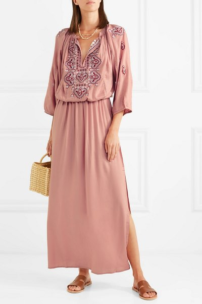 Melissa Odabash sienna embroidered voile maxi dress in antique rose