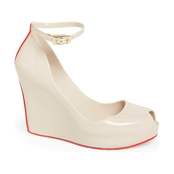 Melissa patchuli ii waterproof ankle strap peep toe wedge in dnu beige/ red - Don't worry about the forecast, puddles are no problem...