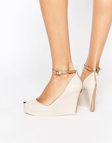 Melissa Patchuli peep toe wedge shoes in nude gold - Shoes by Melissa Recyclable plastic upper Subtle...