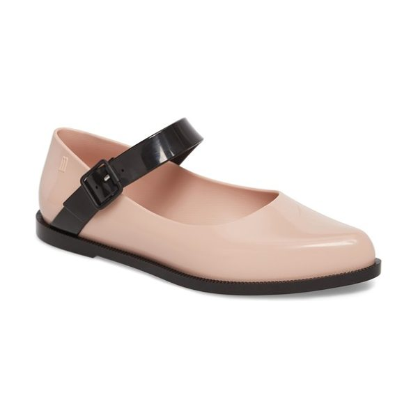 Melissa pointy toe mary jane flat in pearl pink - A contrast mary jane strap angles smartly across a...