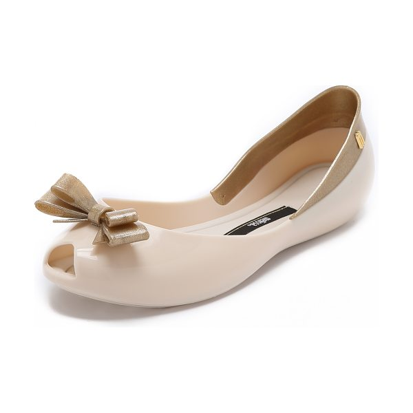 Melissa Queen flats in beige - A curved top line lends a barely there look to glossy...