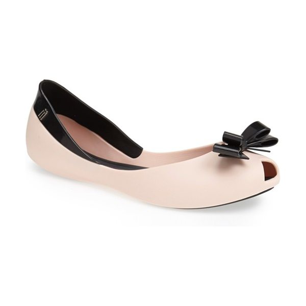 Melissa queen peep-toe flat in pink/ black - A sculptural bow furthers the playful vibe of a...
