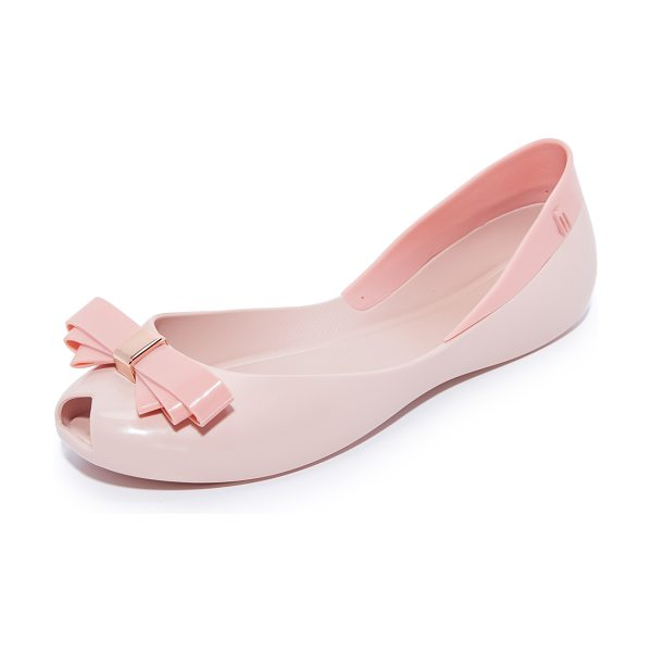 MELISSA queen vi flats - Peep-toe Melissa flats styled with a scalloped top line....