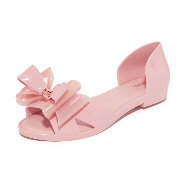 Melissa seduction peep toe flats in light pink - A two-tone bow accents the vamp on these peep-toe...