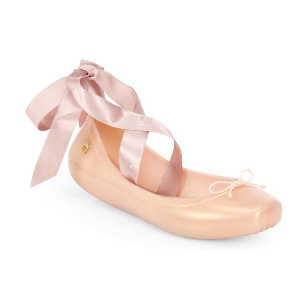Melissa Silk ribbon ballet flats in pink - The timeless ballerina flat is sculpted in shiny rubber...