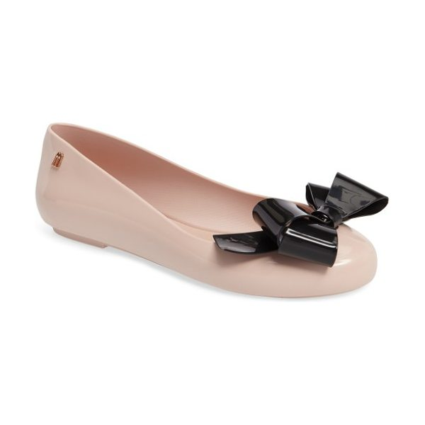 Melissa space love flat in pink/ black - A simple, bow-festooned flat is made with Melissa's...