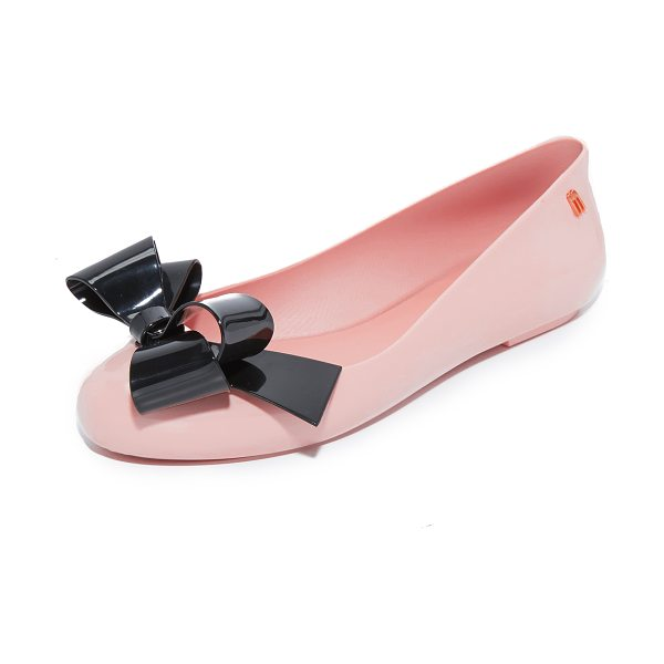 Melissa space love flats in pink/black - A contrast bow accents the vamp on these shiny rubber...