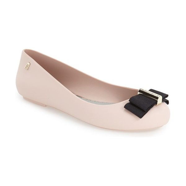 Melissa 'space love in light pink - A simple grosgrain bow adorns the almond toe of this...
