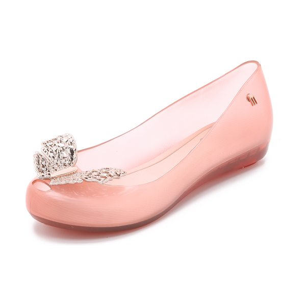 Melissa Ultragirl cinderella sandals in light pink - A metal butterfly accents the peep toe vamp of these...