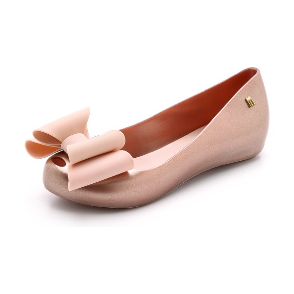 Melissa Ultragirl sweet bow flats in light pink - An oversized, structured bow accents the peep toe of...