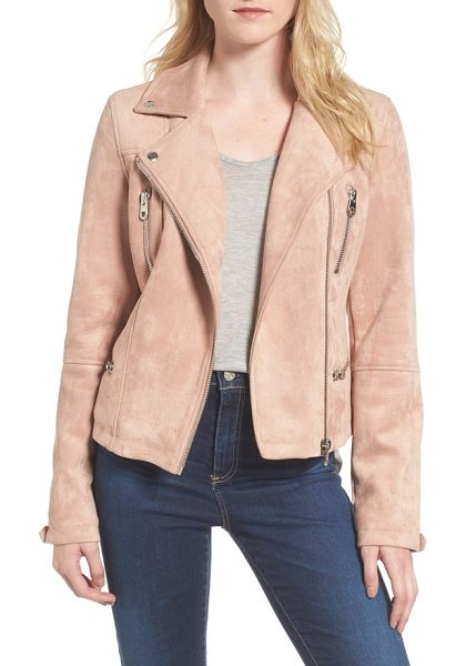 Members Only faux suede biker jacket in blush - A classically designed moto jacket crafted from lush...