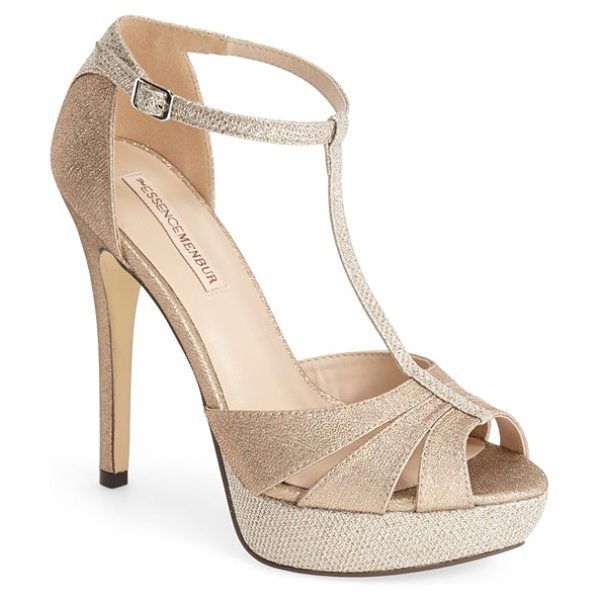 Menbur 'albendin' t-strap sandal in beige - Ready for any celebration, the T-strap Albendin sandal...