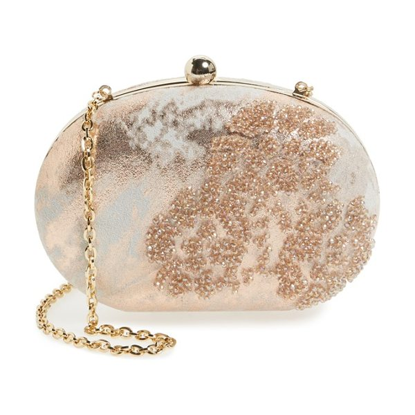 Menbur beaded clutch in nude - Impeccable beading highlights the stunning metallic...