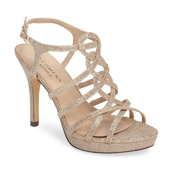 Menbur begonia platform sandal in stone fabric - A scintillating glitter finish adds red-carpet glamour...
