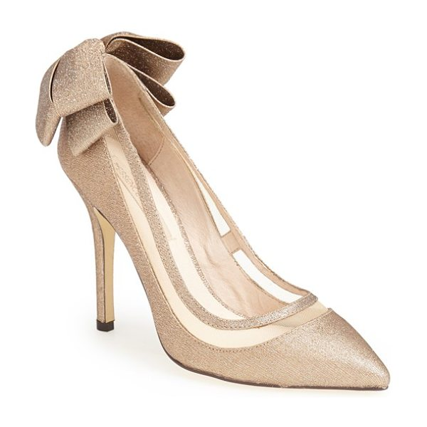 MENBUR 'crusy' glitter pointy toe pump in gold - A double bow wraps the heel of a slinky glitter pump...