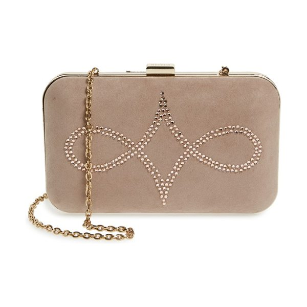 Menbur crystal embellished suede clutch in sand - Simply elegant, this pure suede box clutch features a...