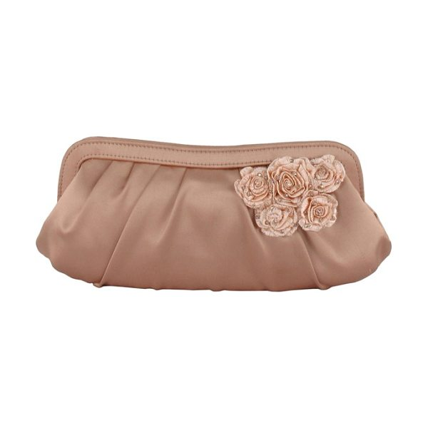 Menbur floral applique satin clutch in nude - Crystal-embellished floral designs shimmer on a...