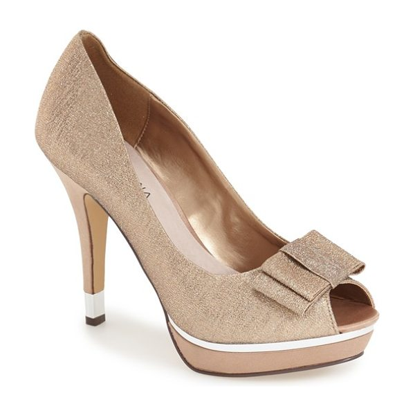 Menbur cuvelier platform pump in stone - A gleaming platform and flat bow lend on-trend style to...