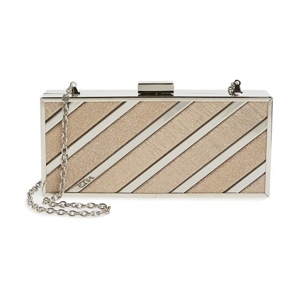 Menbur glitter box clutch in stone - Alternating metallic and glitter stripes make this...