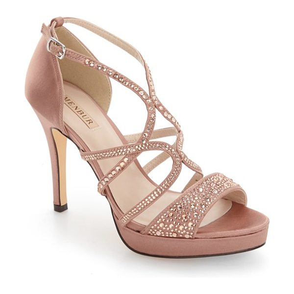 Menbur guadalope crystal embellished sandal in nude fabric - Tonal crystals add a glamorous touch to a striking...