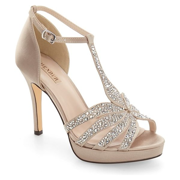Menbur noguera platform sandal in stone fabric - Faceted crystals shimmer on the T-strap of a dramatic...