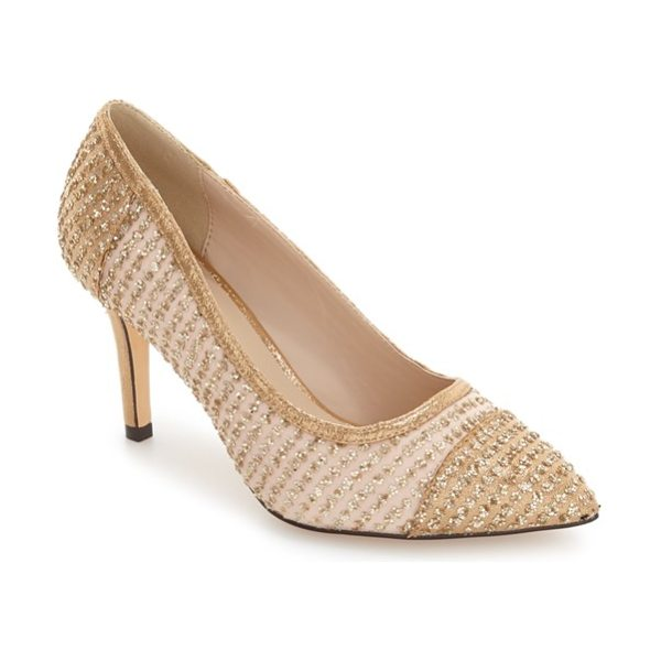 Menbur tambre embellished pointy toe pump in champagne fabric - Sparkling stripes pattern an eye-catching pointy-toe...