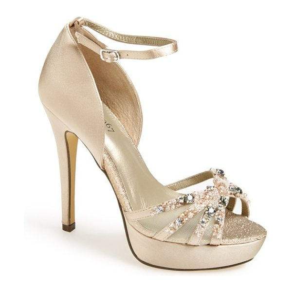 Menbur hendel embellished platform sandal in stone - Frosted beads and dazzling crystals catch the light on a...
