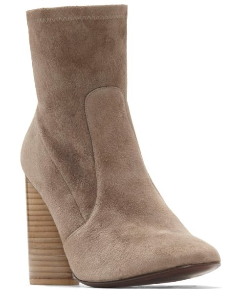 MERCEDES CASTILLO dessa round toe bootie in taupe - A dramatic teardrop heel crafted from stacked slivers of...