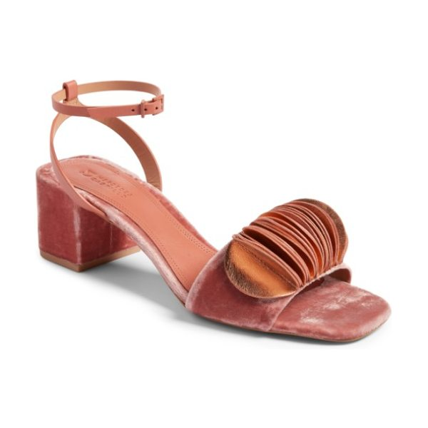 MERCEDES CASTILLO riza block heel sandal in rose/ salmon - Mercedes Castillo's debut collection is driven by...