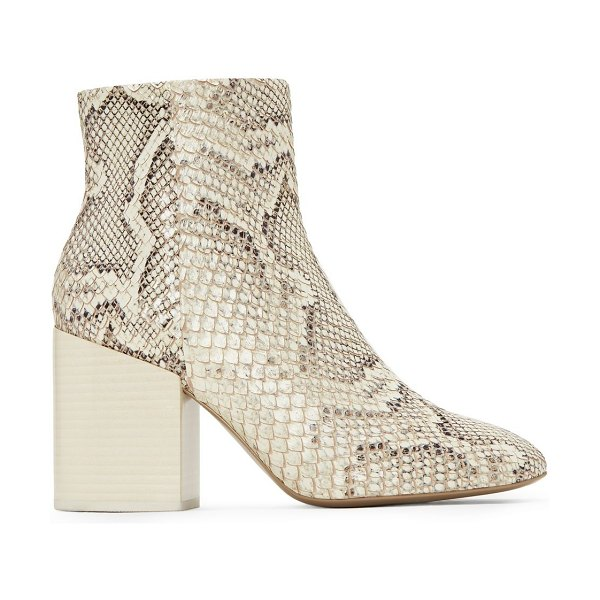 MERCEDES CASTILLO snake print block heel booties in natural - Lacquered block heels put the finishing touch on these...