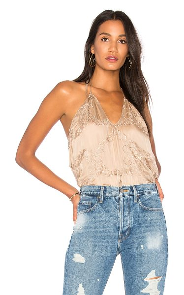 MERRITT CHARLES Roma Tank in taupe - Self & Lining: 100% silk. Dry clean only. Halter...