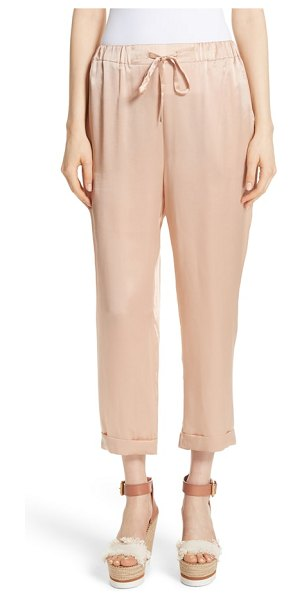 MES DEMOISELLES fester silk ankle pants in beige - Gorgeous silk is shaped into a relaxed-fit pair of pants...