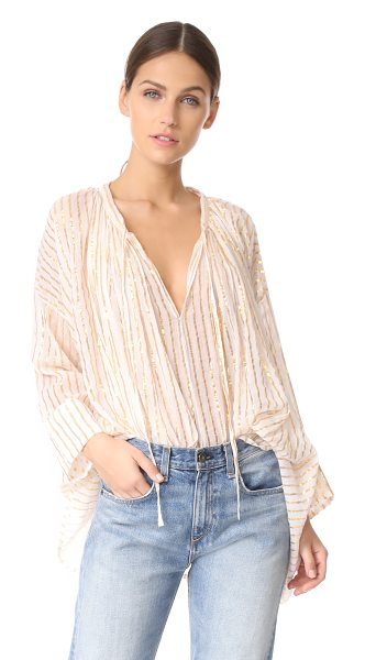 MES DEMOISELLES gloria tie front tunic in natural - This swingy Mes Demoiselles top is detailed with...