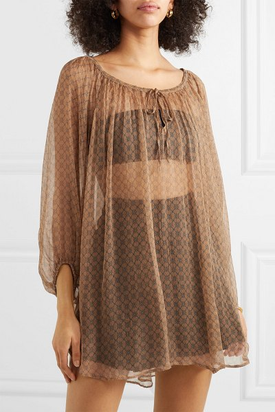 MES DEMOISELLES truly floral-print chiffon blouse in camel