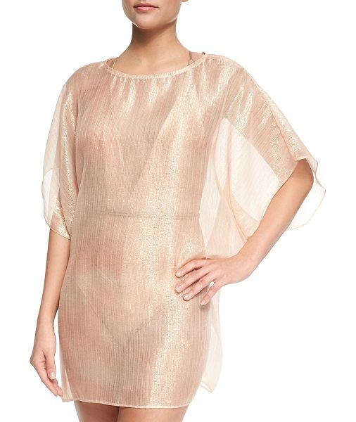 "Meskita Angel sheer metallic tulle coverup in rose/pink - Meskita ""Angel"" coverup in sheer, metallic, shimmery..."