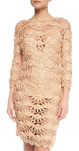 Meskita See-through metallic crochet coverup dress in rose gold - Meskita coverup in metallic crochet with scalloped trim....