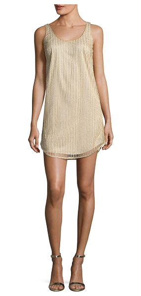 Mestiza New York Vertical Beaded Tank Cocktail Dress in champagne - Mestiza New York tank cocktail dress features allover...