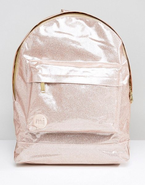 "Mi-pac Classic Backpack in Champagne Glitter in pink - """"Backpack by Mi-Pac, Faux-leather outer, Glitter..."