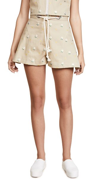 MIAOU greta shorts in khaki embroidery - Fabric: Stretch twill Embroidered floral design Optional...