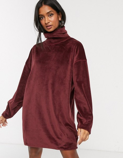 Micha Lounge brushed funnel neck sweater dress-brown in brown
