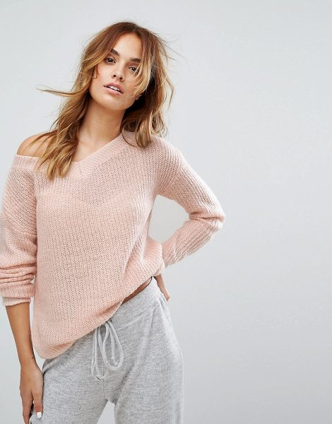 """Micha Lounge Off Shoulder Slouchy Sweater in pink - """"""""Sweater by Micha Lounge, Chunky knit, Textured finish,..."""