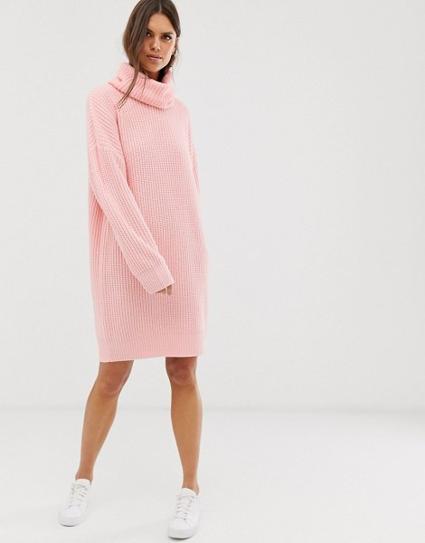 Micha Lounge oversized high neck sweater dress-pink in pink