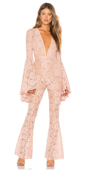 "Michael Costello x REVOLVE Beauty Jumpsuit in blush - ""Self 1: 62% nylon 22% cotton 14% poly 2% spandexSelf 2:..."