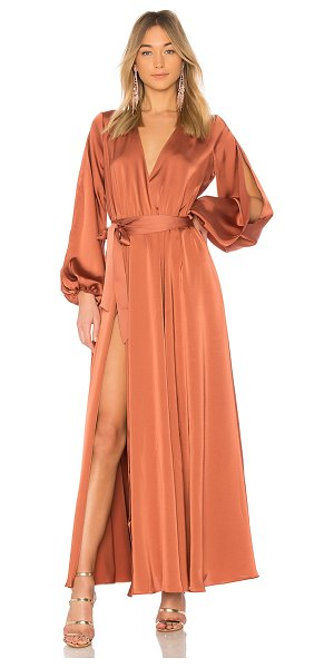 MICHAEL COSTELLO x REVOLVE Eric Gown - 100% poly. Hand wash cold. Unlined. Surplice neckline....