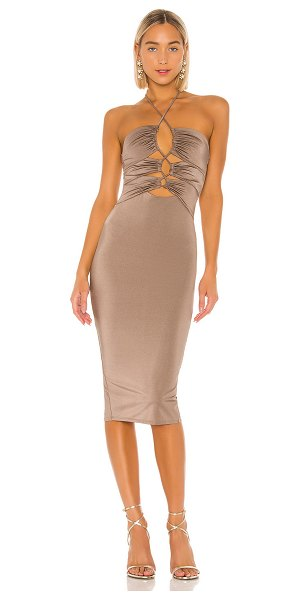 Michael Costello x revolve gavriele midi dress in taupe