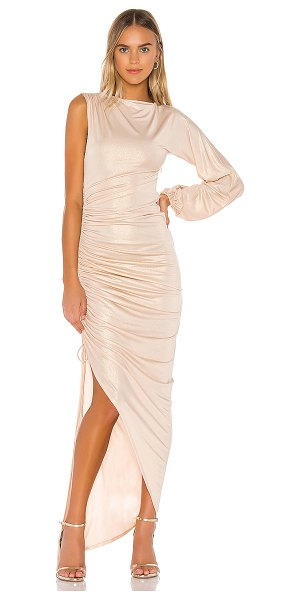 Michael Costello x revolve lacey gown in champagne